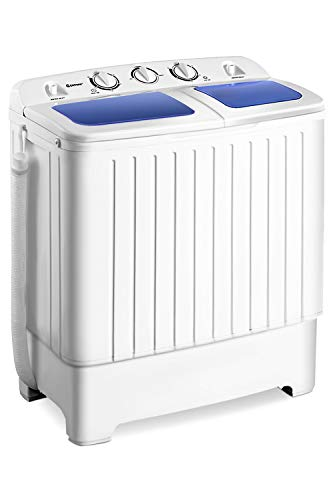 Giantex Portable Mini Compact Twin Tub Washing Machine 17.6lbs Washer Spain Spinner Portable Washing Machine, Blue+ White