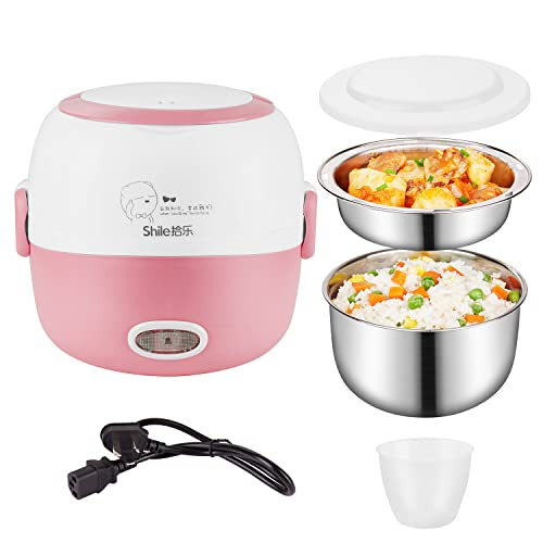 Lunch Box Heater Portable - 110V 200W Removable Stainless Steel Food Grade Material Warmer Heater - with Bowl, Plate, Measuring Cup and Egg Poacher (Pink)