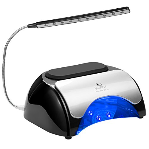 USpicy 48W LED UV Nail Dryer Nail Lamp for Gel Polishes with Automatic Sensor, Pull-down Cover, USB Light (Double press the 120s timer button to turn on the USB Light) and Three Timer Settings