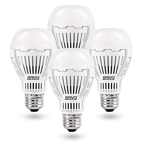 SANSI 100W Equivalent A19 LED Light Bulb, 4 Pack 1600 Lumens Light Bulb with Ceramic Technology, 5000K Daylight Non-Dimmable, 25,000-Hour Lifetime, Efficient, Safe, 13W Energy Saving for Home Lighting