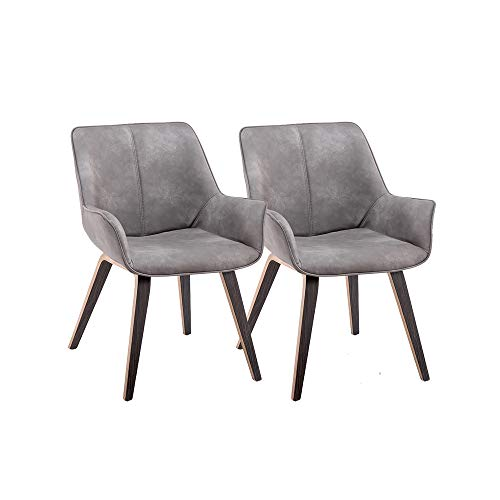 YEEFY Gray PU Leather Contemporary Living Room Chairs with arms Upholstered Accent Chairs Set of 2 (Ashen)