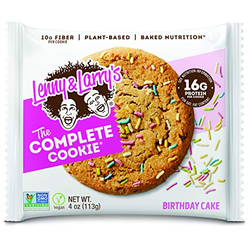 Lenny & Larry's The Complete Cookie, Birthday Cake, Soft Baked, 16g Plant Protein, Vegan, Non-GMO, 4 Ounce Cookie (Pack of 12)