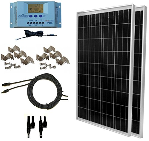 WindyNation 200 Watt Solar Panel Kit: Two pcs 100W Solar Panels + P30L LCD PWM Charge Controller + Solar Cable + Wiring Connectors + Mounting Brackets for Off-Grid RV Boat