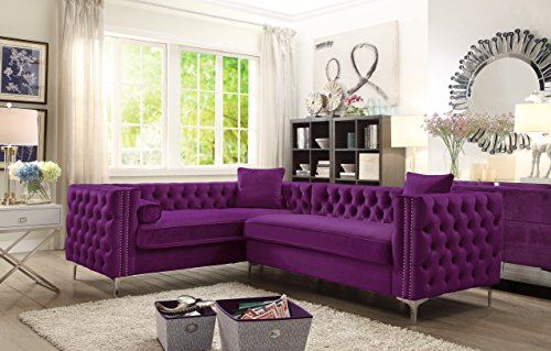 Iconic Home Mozart Left Hand Facing Sectional Sofa L Shape Velvet Button Tufted with Silver Nail Head Trim Silvertone Metal Y-Leg with 3 Accent Pillows Modern Contemporary Plum