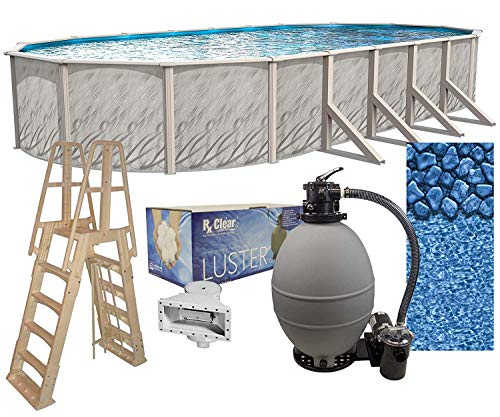 """Lake Effect Meadows Reprieve 18' x 33' Oval Above Ground Swimming Pool 